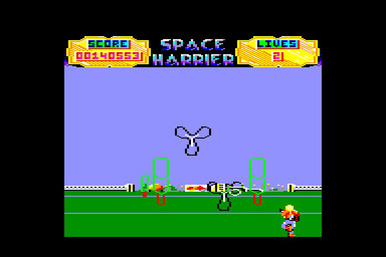 screenshot of the Amstrad CPC game Space Harrier by GameBase CPC
