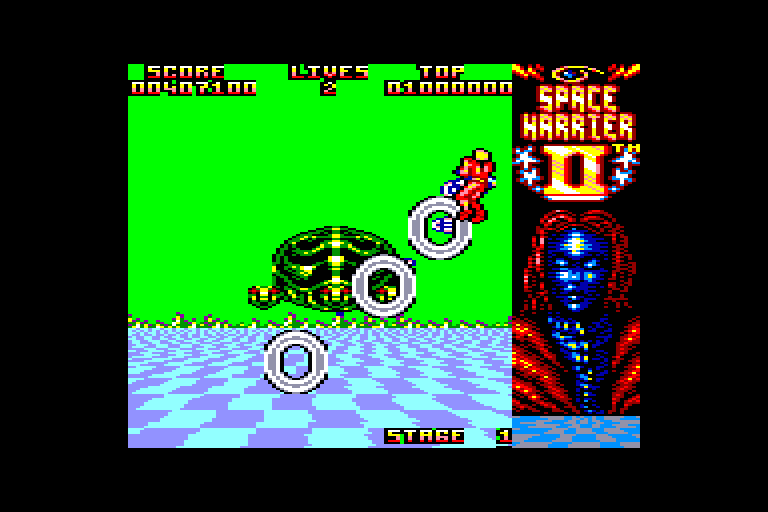 screenshot of the Amstrad CPC game Space Harrier II by GameBase CPC