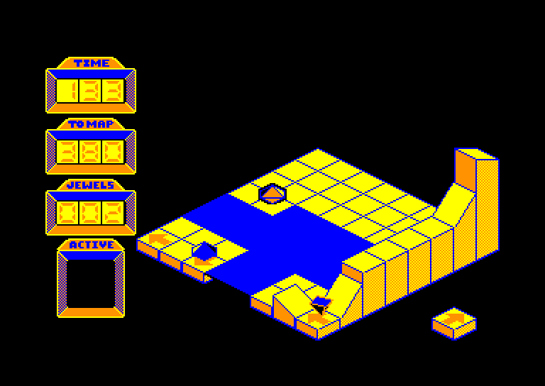 screenshot of the Amstrad CPC game Spindizzy by GameBase CPC