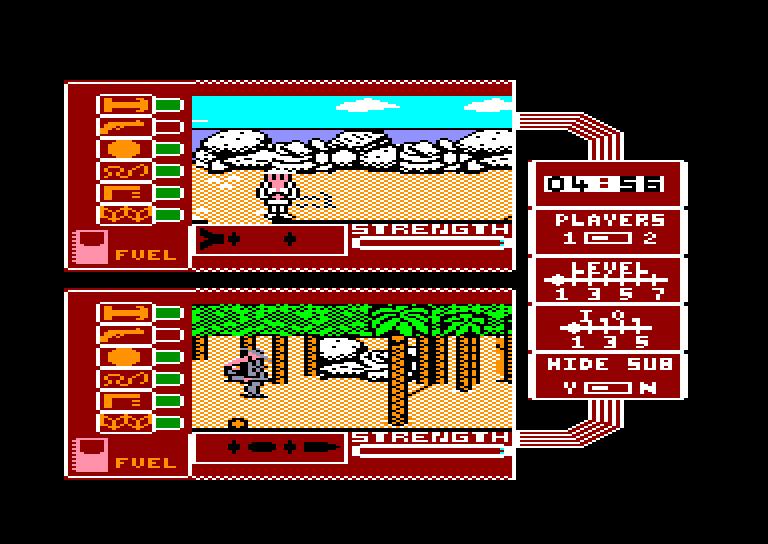 screenshot of the Amstrad CPC game Spy vs Spy II - the Island Caper by GameBase CPC