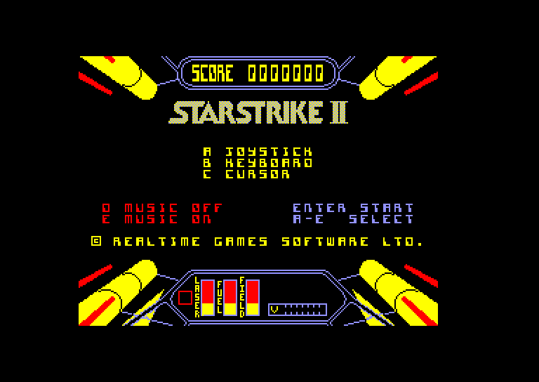 screenshot of the Amstrad CPC game Starstrike II by GameBase CPC