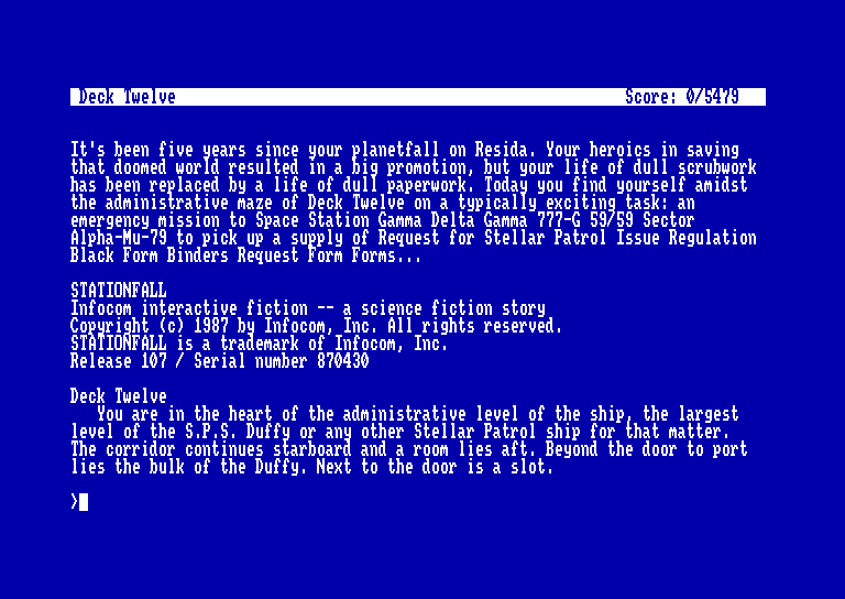 screenshot of the Amstrad CPC game Stationfall by GameBase CPC