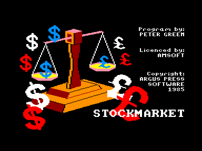 screenshot of the Amstrad CPC game Stockmarket by GameBase CPC