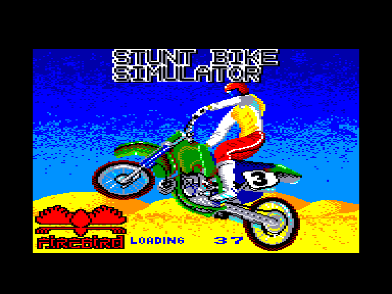 screenshot of the Amstrad CPC game Stunt bike simulator by GameBase CPC