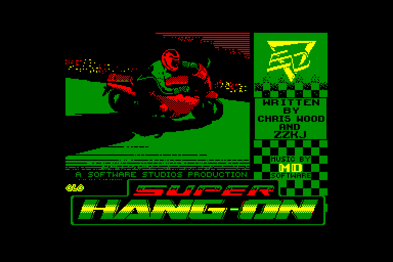 screenshot of the Amstrad CPC game Super Hang-On by GameBase CPC