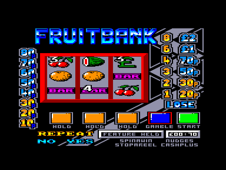 screenshot of the Amstrad CPC game Fruit Bank Supernudge 2000 by GameBase CPC