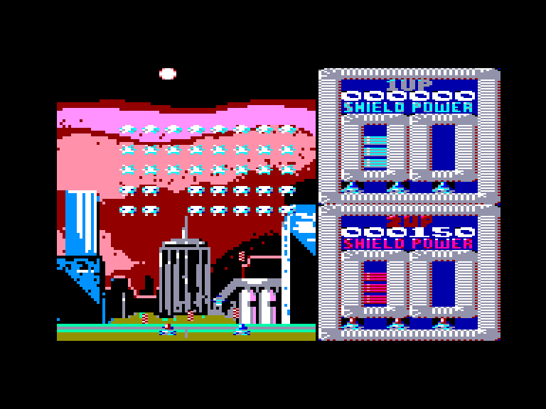screenshot of the Amstrad CPC game Super Space Invaders by GameBase CPC