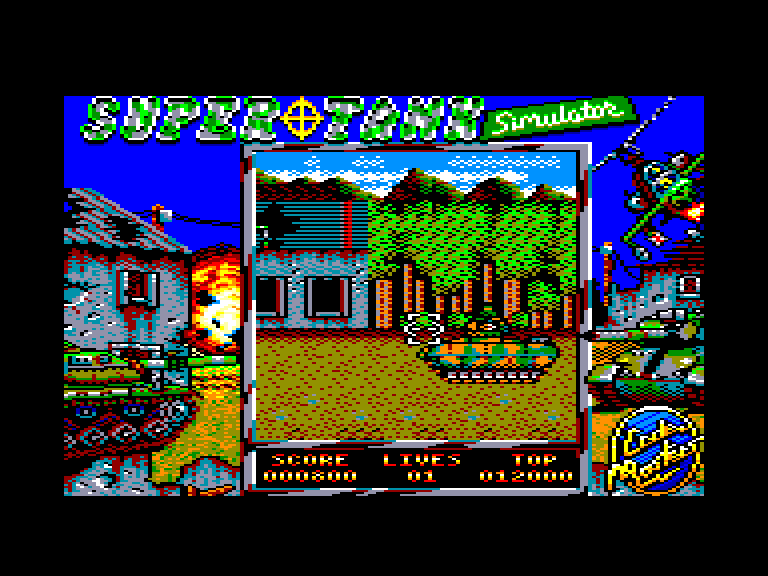 screenshot of the Amstrad CPC game Super Tank Simulator by GameBase CPC