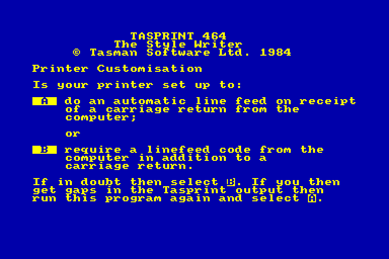 screenshot of the Amstrad CPC game Tasprint 464 by GameBase CPC