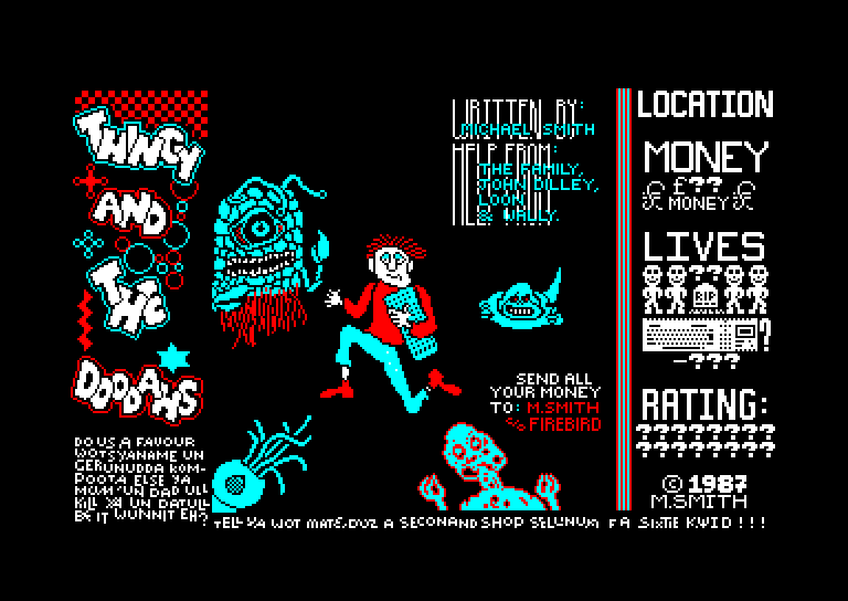 screenshot of the Amstrad CPC game Thingy and the doodahs by GameBase CPC