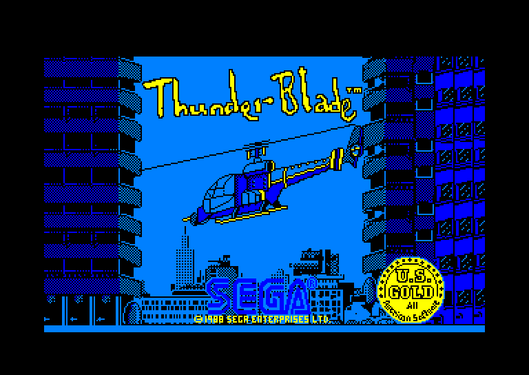 screenshot of the Amstrad CPC game Thunder Blade by GameBase CPC