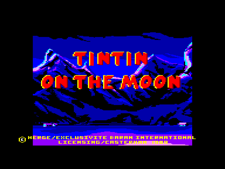 screenshot of the Amstrad CPC game Tintin sur la Lune by GameBase CPC