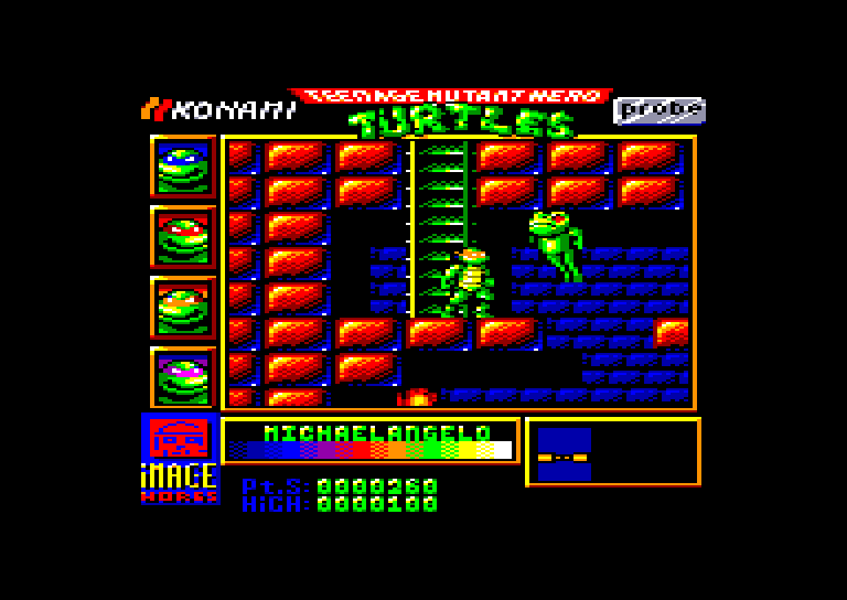 screenshot of the Amstrad CPC game Teenage Mutant Hero Turtles by GameBase CPC