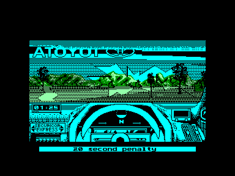screenshot of the Amstrad CPC game Toyota Celica GT Rally by GameBase CPC