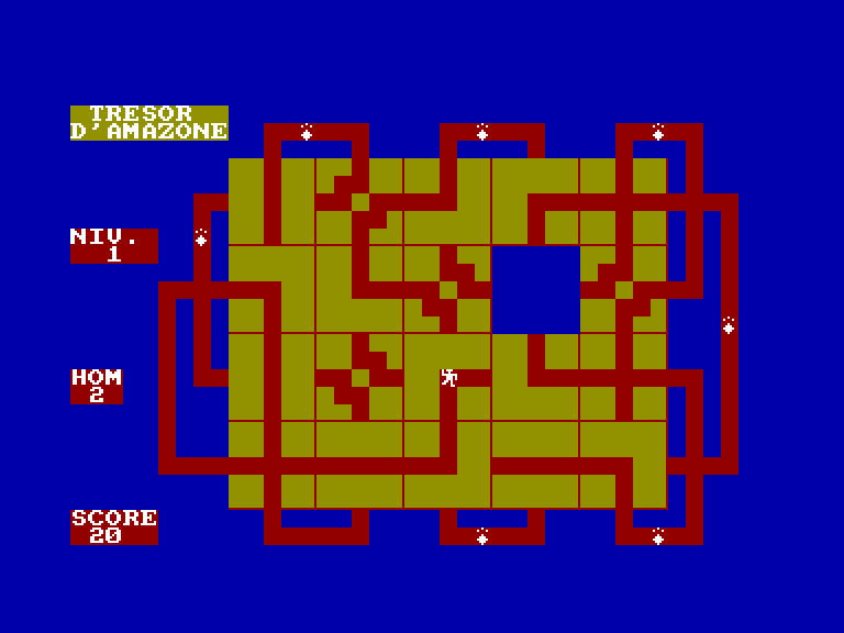 screenshot of the Amstrad CPC game Trésor de l'amazone (le) by GameBase CPC