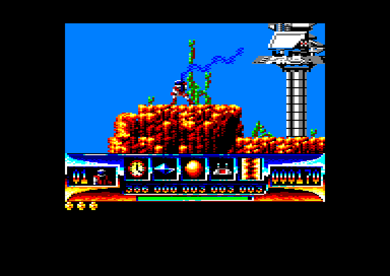 screenshot of the Amstrad CPC game Turrican by GameBase CPC