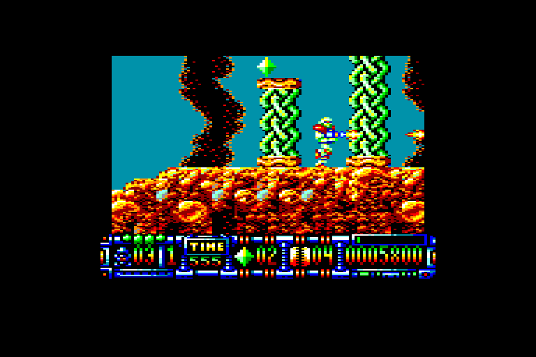 screenshot of the Amstrad CPC game Turrican II by GameBase CPC