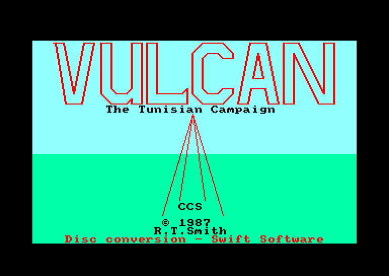 screenshot of the Amstrad CPC game Vulcan - the Tunisian Campaign by GameBase CPC
