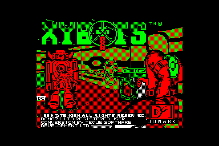 screenshot of the Amstrad CPC game Xybots by GameBase CPC