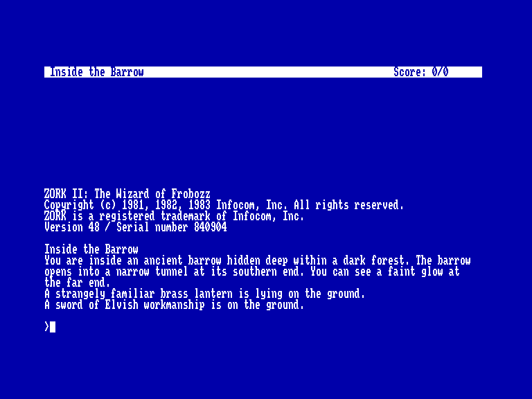 screenshot of the Amstrad CPC game Zork II: the wizard of frobozz by GameBase CPC