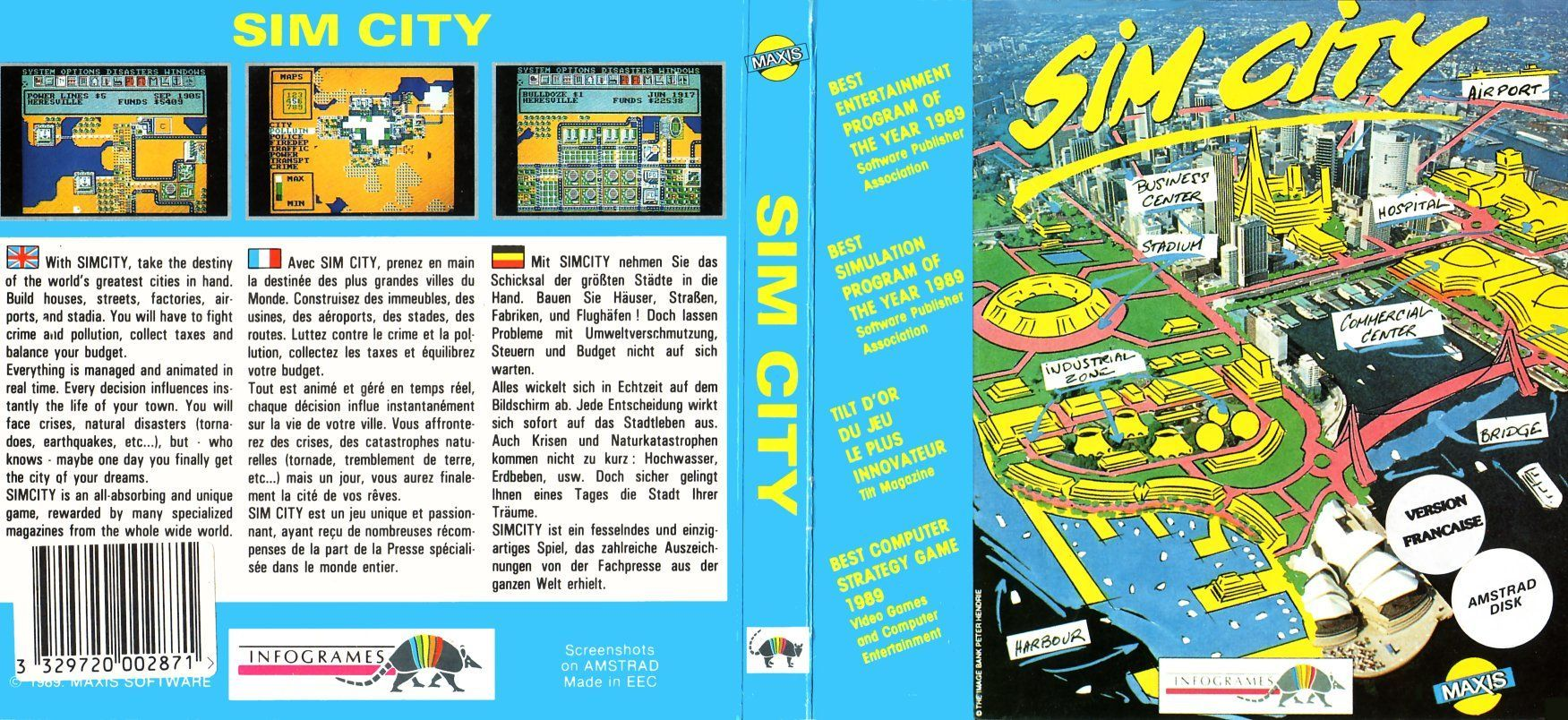 cover of the Amstrad CPC game sim_city by Mig
