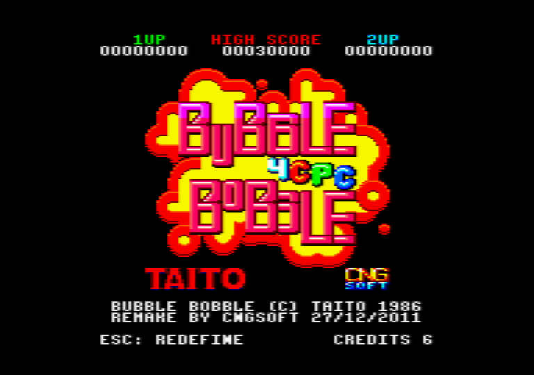 loading screenshot of the amstrad CPC game Bubble bobble 4 CPC