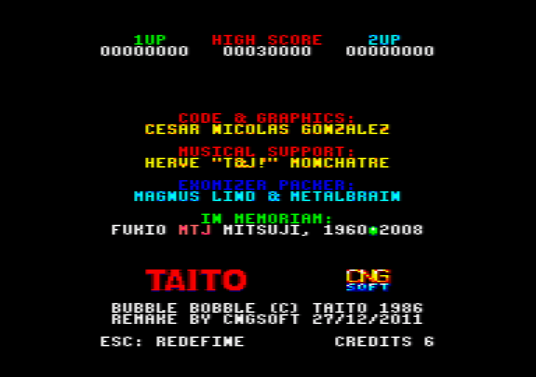 menu screenshot of the amstrad CPC game Bubble bobble 4 CPC