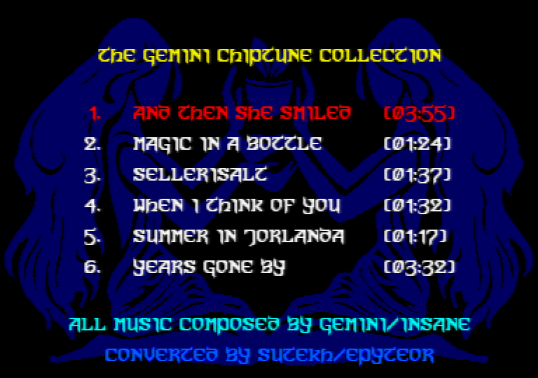 menu of the Amstrad CPC music disk the Gemini chiptune collection by Sutekh