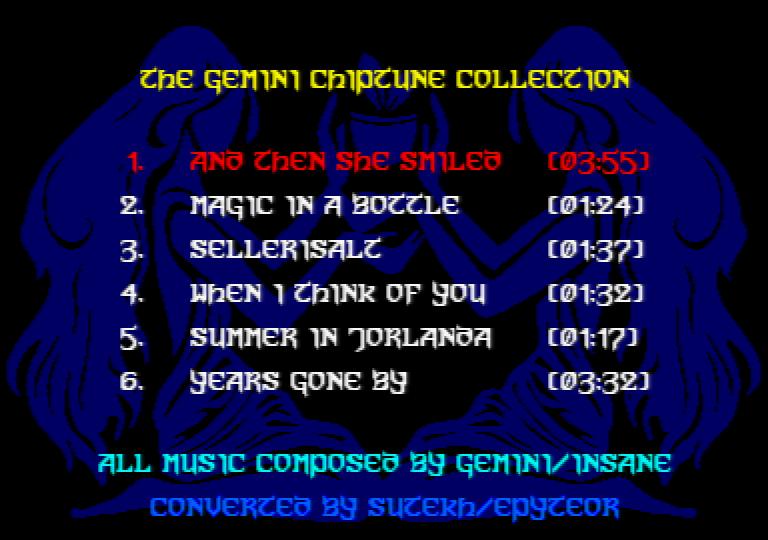 menu du music disk Amstrad CPC the Gemini chiptune collection par Sutekh
